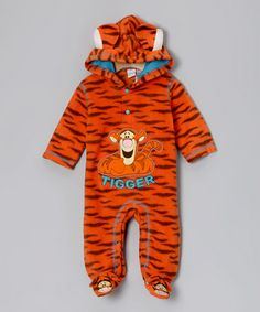 Another great find on #zulily! Orange Tigger Plush Hooded Footie - Infant #zulilyfinds