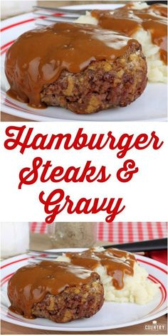 Hamburger Steaks and Gravy are made with seasoned ground beef patties, peppers, onion and are simmered in a deliously thick brown gravy! Hamburger Steaks and Gravy - Hamburger Steaks and Gravy recipe from The Country Cook Hamburger Steak Recipes, Hamburger Steak And Gravy, Beef Meals, Hamburger Dishes, Baked Hamburger Patties, Dinner Ideas Hamburger Meat, Beef Welington, Sirloin Recipes, Hamburger Casserole