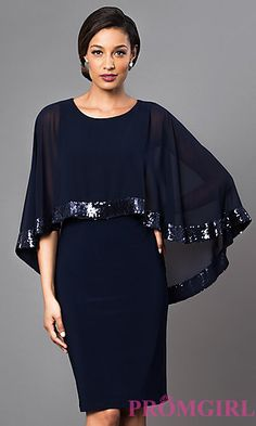 Navy Blue Knee Length Dress with Attached Cape Style: Detail Image 1 Elegant Dresses, Beautiful Dresses, Casual Dresses, Fashion Dresses, Short Semi Formal Dresses, Short Dresses, Prom Dresses, Dresses With Capes, Mom Dress