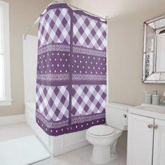 #Purple White Checkered Polka Dot Floral Damask art Shower Curtain - #Bathroom #Accessories #home #living