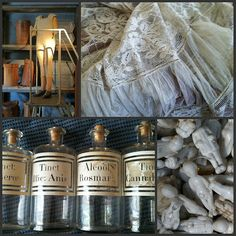 Antique French apothecary jars, French vintage lace. What you can find buy at French flea market. (and at the Red Shed)
