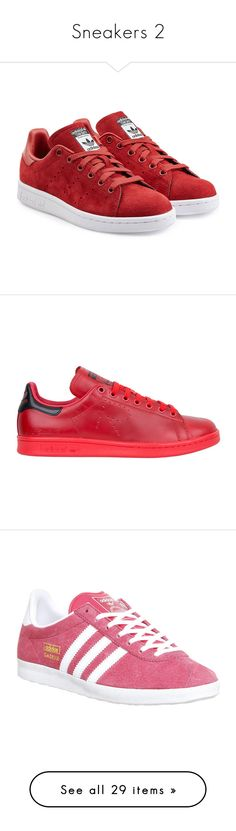 """""""Sneakers 2"""" by laumariborche on Polyvore featuring shoes, sneakers, chaussure, red, adidas originals shoes, rubber sole shoes, red trainers, adidas originals trainers, suede sneakers y rosso"""
