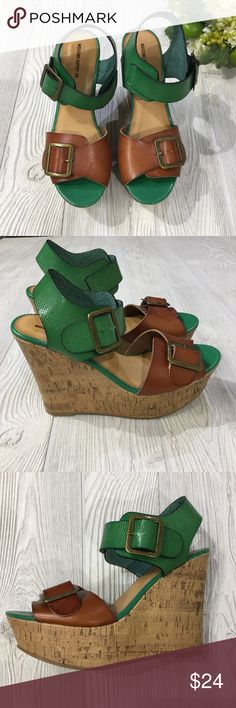 """Colorblock Wedge Colorblock Wedge, Green & Brown, Cork Sides, Adjustable Heel & Toe Strap, 5"""" Wedge Height, Manmade Materials, Excellent Condition Mossimo Supply Co. Shoes Wedges"""
