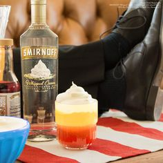 THE MAJORITY WHIP. The Majority Whip is the perfect drink for both friends and enemies that you're pretending are friends. #Bingewatching #Premiere #Season3 Just mix 1.5 oz. Smirnoff Whipped Cream, 3 oz. sour mix, 2 oz. pineapple juice, a dash of grenadine, and top it off with whipped cream.