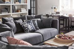 IKEA Stockholm 2017 grey velour sofa with black and white cushions and rattan coffee table Ikea Stockholm 2017, Velour Sofa, Home Furniture, Furniture Design, Gravity Home, Sofa Inspiration, Ikea Sofa, Living Room Sofa, Interior Design