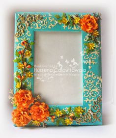 The roses have been handmade by me using Cheery Lynn Gardenia strip die. The golden corners on the either side of the frame have been embossed using Gold UTEE. Quilling Flowers, Paper Quilling, Red Photo Frames, Quilling Photo Frames, Quilling Designs, Paper Frames, Diy Frame, Alters, My Flower