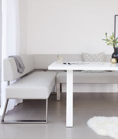 The Zen White Gloss and Dover Right Hand Corner Bench Set includes a white gloss 6 seater dining table and faux leather corner bench, which can seat up to 5 people. There is also the option to add a matching backless dining bench. Corner Dining Bench, 6 Seater Dining Table, Dining Set, Dining Chairs, Glass Furniture, Dining Furniture, Bench Set, Leather Bench, Look Cool