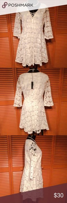 Ivory Lace Dress Beautiful all lace, Ivory dress with 3/4 length lace sleeves. It has an inside liner made of polyester and zips up the side. Ellison Dresses Mini