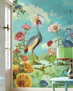 Fantastische Blumen-Welt mit farbenprächtigen Bewohnern. Tapete von Rice mit Eijffinger.