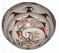 Southwest Pottery : Native American Hopi Pottery Seed Pot, by Feather Woman, Sylvia Naha #16