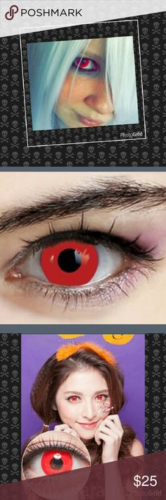 Blood Red Contact Lenses Non Prescription Pure Red Crazy Cosplay Halloween Lenses. 100% Soft contact lens Phemfilcom 42% Brand new High Quality All color without any power (prescription,) Yearly use they can be used for one year Do not use more than 8 hours a day Accessories Glasses