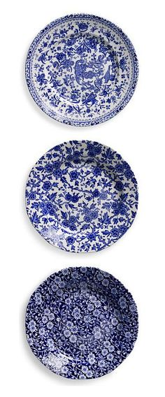 Ralph Lauren Home blue and white tabletop: Regal Peacock, Arden and Calico Salad Plates  ~ Great pin! For Oahu architectural design visit http://ownerbuiltdesign.com