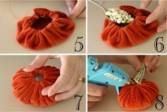 Velveteen pumpkin tutorial via jilly & mia Velvet Pumpkins, Fabric Pumpkins, Fall Pumpkins, Fun Diy Crafts, Fall Crafts, Holiday Crafts, Diy Pumpkin, Pumpkin Crafts, Diy Halloween Decorations
