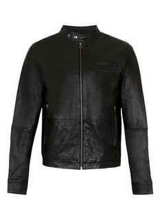 BLACK LEATHER BIKER JACKET - Men's Coats & Jackets   - Clothing
