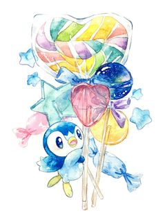Cute art of Piplup with candy Pokemon Comics, All Pokemon, Pokemon Fan Art, Kawaii Chibi, Cute Chibi, Kawaii Art, Cute Pokemon Wallpaper, Cute Cartoon Wallpapers, Pokemon Fusion