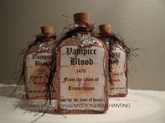 Glass Vampire Blood Bottle. $10.50, via Etsy. ( be cute for a party )