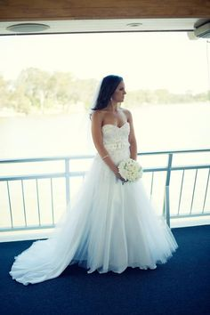 real bride Elyce wearing her Elizabeth de Varga 'Vogue' gown in white silk, shimmer tulle and lace intricately hand beaded with Swarovski crystals and pearls #simplystunning