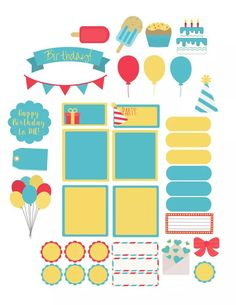 Free planner printable, turquoise, yellow, popsicle, summer stickers