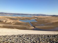 Folsom Lake low water level showing historical cuts in landscape.