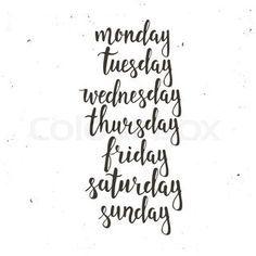Handwritten days of the week: Monday, Tuesday, Wednesday, Thursday, Friday, Saturday, Sunday. Black ink calligraphy words isolated on white background. Calligraphy. | Vector | Colourbox on Colourbox