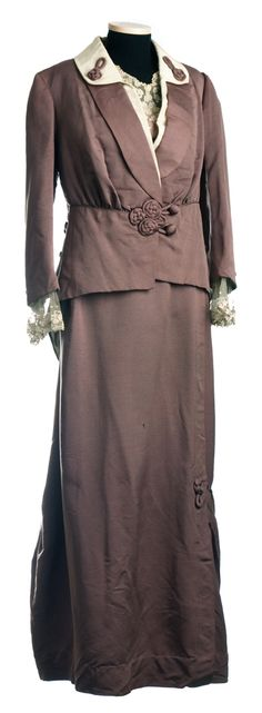 Suit: ca. 1912, silk faille, long slender skirt, matching jacket and chiffon bodice.