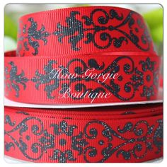"7/8"" Red w/ Black Glitter printed grosgrain ribbon from How Gorgie Boutique"