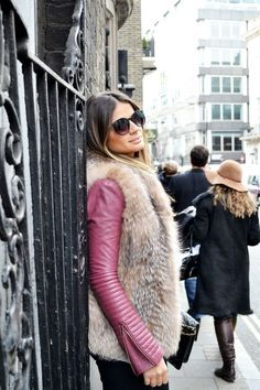 Fur and colored leather