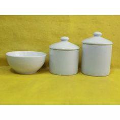 Kit Higiene Porcelana Branca Bebe Jogo 3 Pçs. Puxador Potes