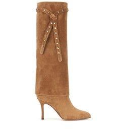 Valentino - Embellished suede knee-high boots - mytheresa.com