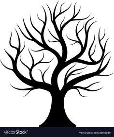 Black silhouette bare tree vector image on VectorStock Black Silhouette, Tree Silhouette, Tree Line Drawing, Drawing Art, Christmas Tree Drawing, Tree Stencil, Tree Templates, Tree Images, Bare Tree