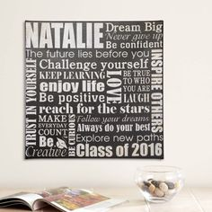 Need a unique gift? Send Dream Big Graduation Canvas and other personalized gifts at Personal Creations. Graduation Gifts For Daughter, High School Graduation Gifts, Graduation Presents, Graduation Quotes, Graduation Ideas, Graduation Message, College Grad Gifts, Graduation 2016, Graduation Parties