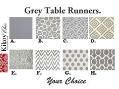 "Grey Table Runner- Gray  Table Runner.Grey Table Cloth. 12"" x 72"" or 12"" X 60 """