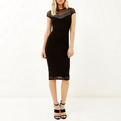 Black mesh panel bodycon dress - bodycon dresses - dresses - women