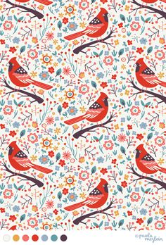 Red Cardinals by Paula McGloin. #surfacepattern