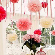 décoration de mariage 10 pouces fleur de papier de soie de pom - jeu de 4 (plus de couleurs) de 2016 à €4.89