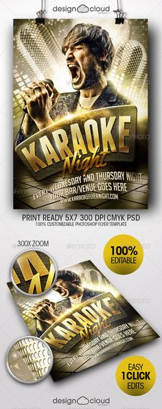 Karaoke Or Comedy Night Flyer Template  Postermywall  Karaoke
