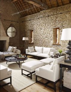 Do you want to make your house looks more natural by using the stone wall along the room? Here in this article we provide 15 stone wall interior designs for you who always want to decorate a natural home. Design Case, Wall Design, Rustic Interiors, Living Room Interior, Home Fashion, Contemporary Furniture, White Furniture, Home And Living, Living Spaces