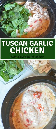 tuscan chicken in slow cooker | easy crockpot recipes | Easy Crockpot Meals | Family Dinner Recipe #crockpot #slowcooker #chicken #dinnertime #chickenrecipes