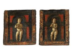 Gemäldepaar MUSIZIERENDE PUTTEN Tempera auf Holz. 41 x 36 cm sowie 40 x 38 cm. Diese beiden musizierenden Putti - der eine spielt Laute, der andere Blockflöte...