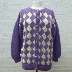 Cardigan purple jacket wool cardigan kntted top chunky cardigan 80s knit cardigan vintage 80s clothing wool cable knit ladies cardigan cable by Regathered on Etsy https://www.etsy.com/listing/166233435/cardigan-purple-jacket-wool-cardigan