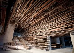 Stunning Entryway of the Nishi Building Includes a Suspended Ceiling of 2,150 Reclaimed Boards from Old Homes and Basketball Court - Colossa...