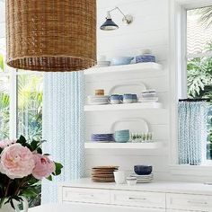 White floating shelves in white shiplap kitchen: open shelves Blue Kitchen Island, Blue Subway Tile, Glass Front Cabinets, Pantry Cabinets, White Floating Shelves, White Shaker Cabinets, White Shiplap, Transitional Kitchen, Transitional Bedroom
