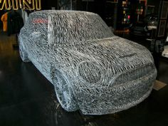 The Mini Cooper S sculpture (made of 7000 nails) by Munich based sculptor Alexander Geissler who toiled hard for 200 hours to meticulously shape this amazing feat, while keeping in mind the details and proportions of the original car Mini Cooper S, Berlin Design, Steel Sculpture, Mini Things, Cool Inventions, Mini Me, Art Cars, Scale Models, Metal Art