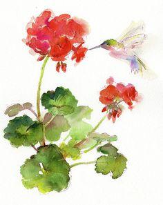 Watercolor Bird, Watercolor Paintings, Watercolors, Geranium Tattoo, Geranium Flower, Geranium Oil, Red Geraniums, Botanical Illustration, Painting Inspiration
