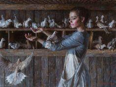 Morgan Weistling The-Dove-Keeper- Morgan Weistling, Mode Poster, West Art, Aesthetic Painting, Hippie Art, Victorian Art, Old Paintings, Portrait Art, Figurative Art