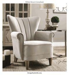 Desert White Velvet Armchair