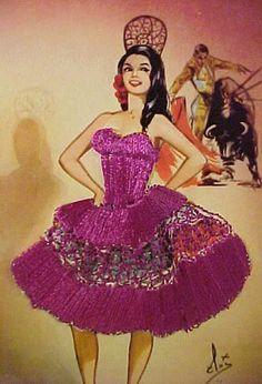 Silks: 1950-60 Flamenco Dancer Purple Dress Post Card