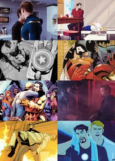 Stony Steve and Tony will always have a complex relationship. And I hope they will always find a way to be friends. Superfamily Avengers, Stony Avengers, Stony Superfamily, Spideypool, Marvel Avengers, Steve Rogers, Marvel Funny, Marvel Dc Comics, Memes Chats