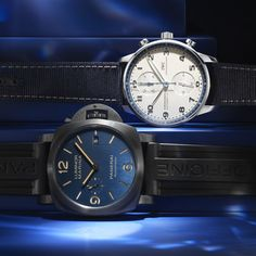 With the IWC Schaffhausen Portugieser Chronograph Bucherer BLUE and the Panerai Luminor Marina Bucherer BLUE. Panerai Luminor Marina, Certified Pre Owned, Jewelry Show, Iwc, Gift Vouchers, Rolex Watches, Chronograph, Blue, Gift Certificates