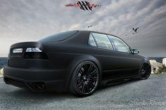 Kind of digging the matte black paint on a car.  Very interesting.    Saab Sedan Black Matte.